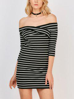 Off The Shoulder Stripe Casual Dress - White And Black S
