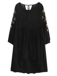 High Low Floral Embroidered Smock Dress - Black S