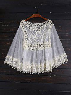 Crochet And Tulle Sheer Cover Up - Off-white