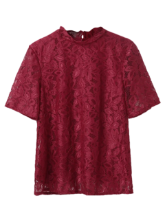 Stehen Neck Lace Top - Rot L