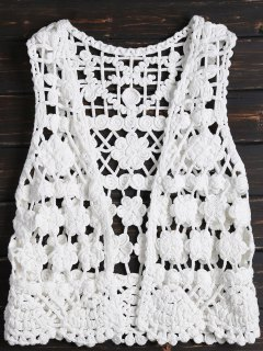 Crochet Flower Vest Cover Up - White