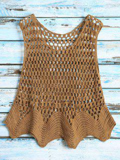 Crochet See Thru Tank Top - Coffee