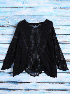 Long Sleeves Sheer Crochet Lace Top - Black