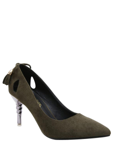 Tassels Pointy Hollow Out Pumps - Army Green 39