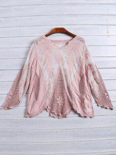 Long Sleeves Sheer Crochet Lace Top - Pink