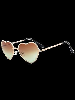 See Through Lens Heart Sunglasses - Tea-colored