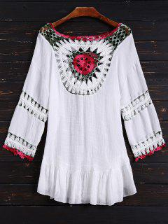 Crochet Bib Cover Up Dress - White