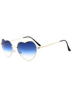 See Through Lens Heart Sunglasses - Blue