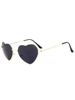 See Through Lens Heart Sunglasses - Black Grey