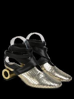 Strange Style Square Toe Cross Strap Pumps - Golden 39