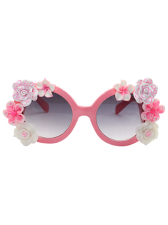 Flowers Embellished Curving Leg Mirrored Sunglasses - Light Pink