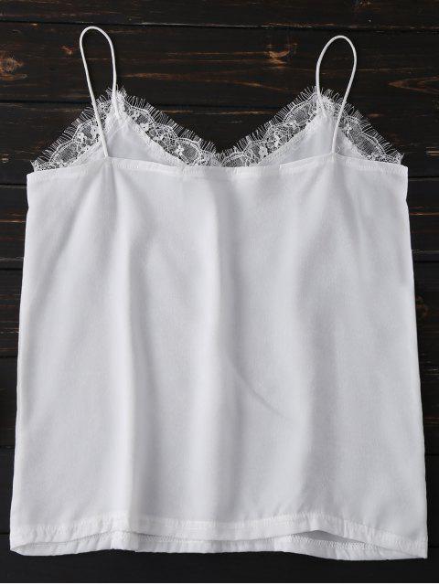 online Satin Lace Trim Cami Top - WHITE M Mobile