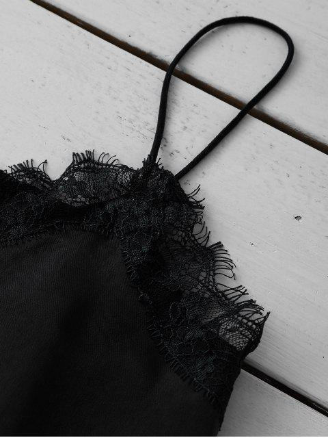 shop Satin Lace Trim Cami Top - BLACK L Mobile