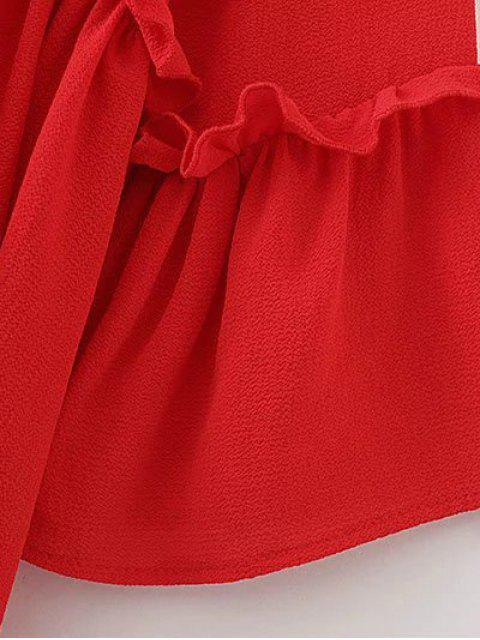 Top plissé embelli falbalas - Rouge S Mobile