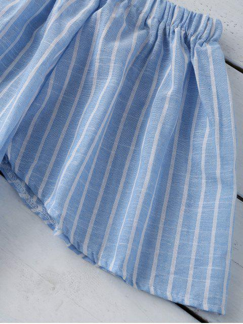 ladies Striped Off Shoulder Blouse - LIGHT BLUE S Mobile