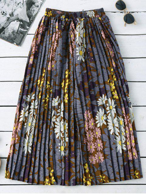Jupe midi florale plissée - Multicolore Taille Unique Mobile