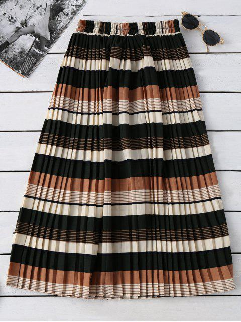 fancy Striped Elastic Waisted Pleated Skirt - COLORMIX ONE SIZE Mobile