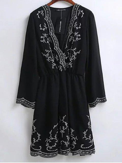 shop Embroidered Surplice Holiday Dress - BLACK M Mobile