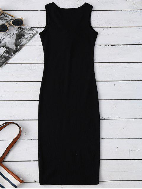 outfit Lace Up Ribbed Bodycon Dress - BLACK ONE SIZE Mobile