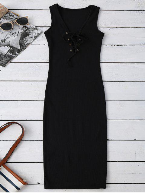Geripptes Bodycon Kleid mit Schnürsenkel - Schwarz Eine Größe Mobile