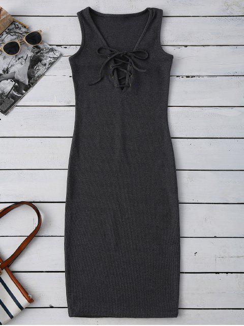 Robe de fourreau à longueur genou avec des manches longues et lacet - Gris Foncé TAILLE MOYENNE Mobile