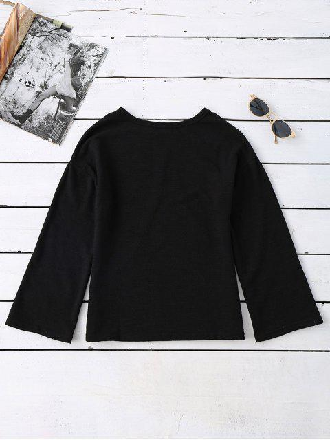 fashion Long Sleeve Cut Out Tee - BLACK ONE SIZE Mobile