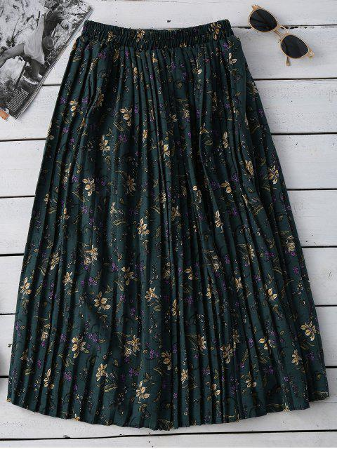 affordable Tiny Floral Pleated Midi Skirt - GREEN ONE SIZE Mobile