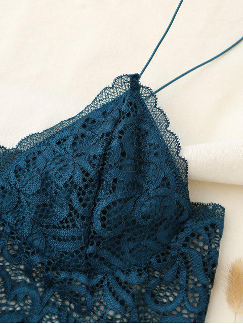 trendy Embroidered Lace Panel Bra - PEACOCK BLUE ONE SIZE Mobile