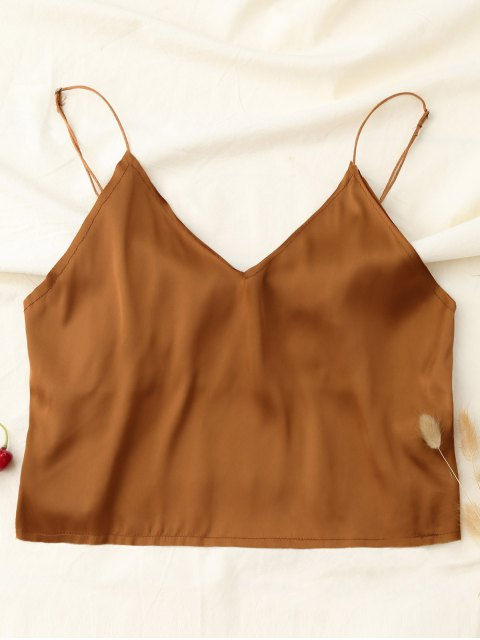 Crop Tank Top - Khaki M Mobile