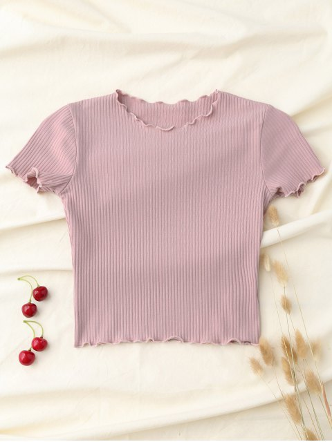 shops Cropped Flounced T-Shirt - PINK S Mobile