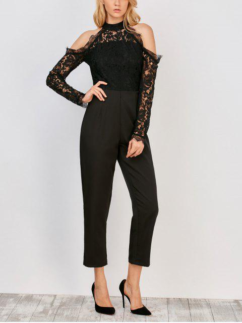 Lace Panel épaule froide Jumpsuit - Noir L Mobile
