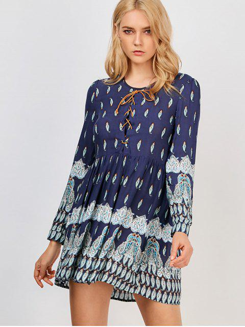 lady Printed Lace Up Dress - PURPLISH BLUE L Mobile