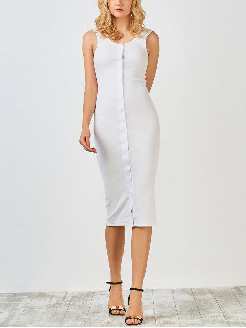 hot Knitting Button Up Bodycon Dress - WHITE S Mobile