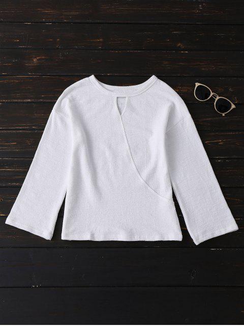 Tee entaillé à manches longues - Blanc Taille Unique Mobile