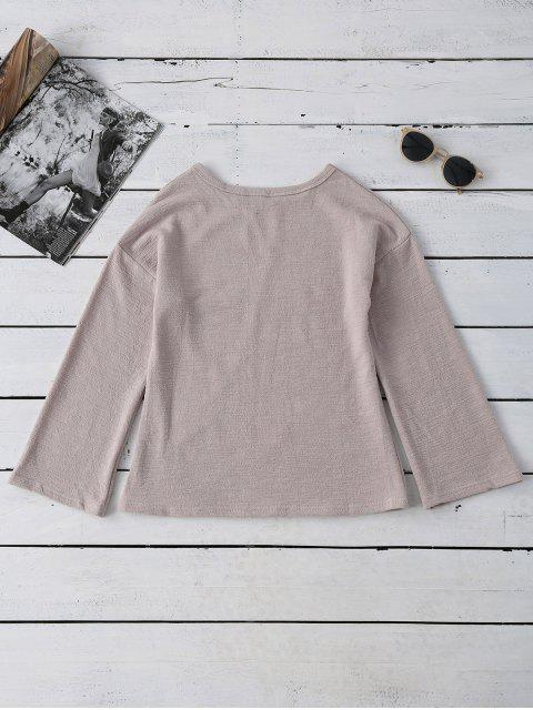 latest Long Sleeve Cut Out Tee - APRICOT ONE SIZE Mobile