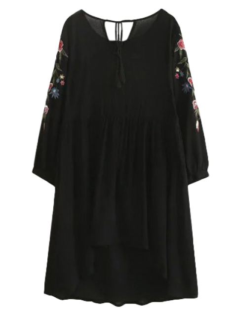 fancy High Low Floral Embroidered Smock Dress - BLACK M Mobile