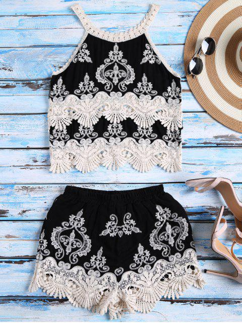 women Crochet Panel Tank Top and Shorts Set - BLACK ONE SIZE Mobile