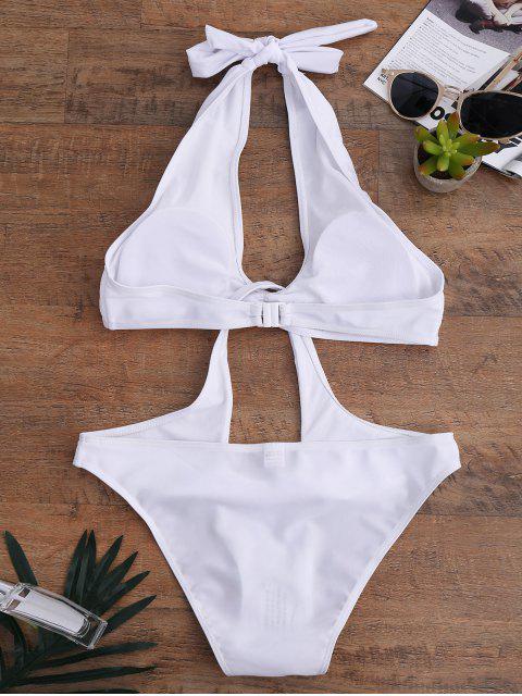 sale Keyhole Disassembled Swimwear - WHITE L Mobile