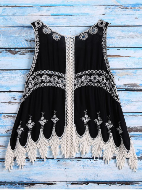 sale Sleeveless Cut Out Crochet Cover Up - BLACK ONE SIZE Mobile