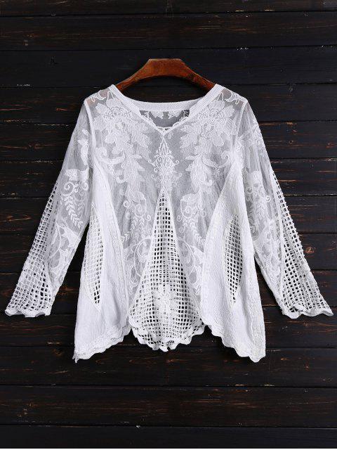 Haut à manches longues en maille et crochet - Blanc Taille Unique Mobile