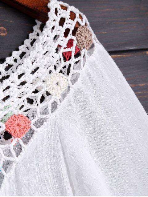 buy Long Sleeves Crochet Yoke Cover Up - WHITE ONE SIZE Mobile