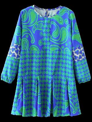 Vestido Con Estampado De Manga Larga De Paisley - Azul S