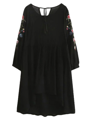 Alta Baja Floral Vestido De Delantal Bordado - Negro S