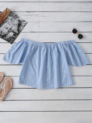 Striped Off Shoulder Blouse - Light Blue S