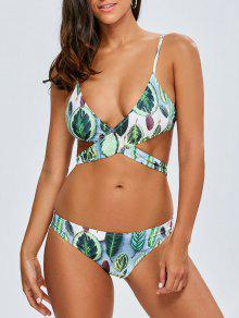 Assortiment De Bikini Entrecroisé à Motifs Tropicaux - Vert S