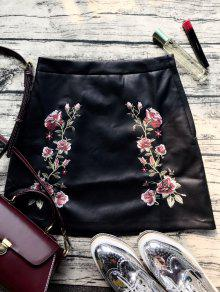 Faux Leather Flower Embroidered Skirt - Black Xs