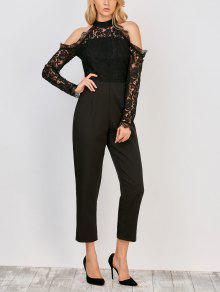 Lace Panel Cold Shoulder Jumpsuit - Black L