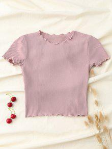 Cropped Flounced T-Shirt - Pink M