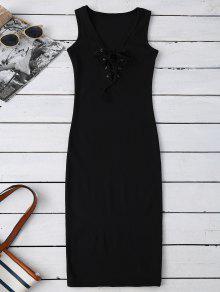 فستان المخرمات  الضيق  - أسود