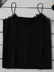 Satin Lace Trim Cami Top - Black L